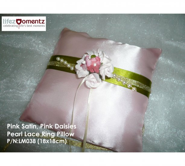Pink Satin, Pink Daises & Pearl Lace Wedding Ring Pillow (LM038)