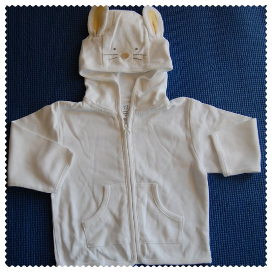 Baby Gap White Bunny Hoodie New size 6-12 months