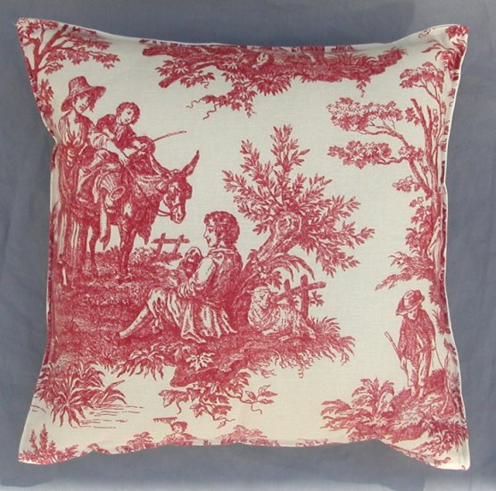 Waverly Country Life Toile Crimson Red Throw Pillow