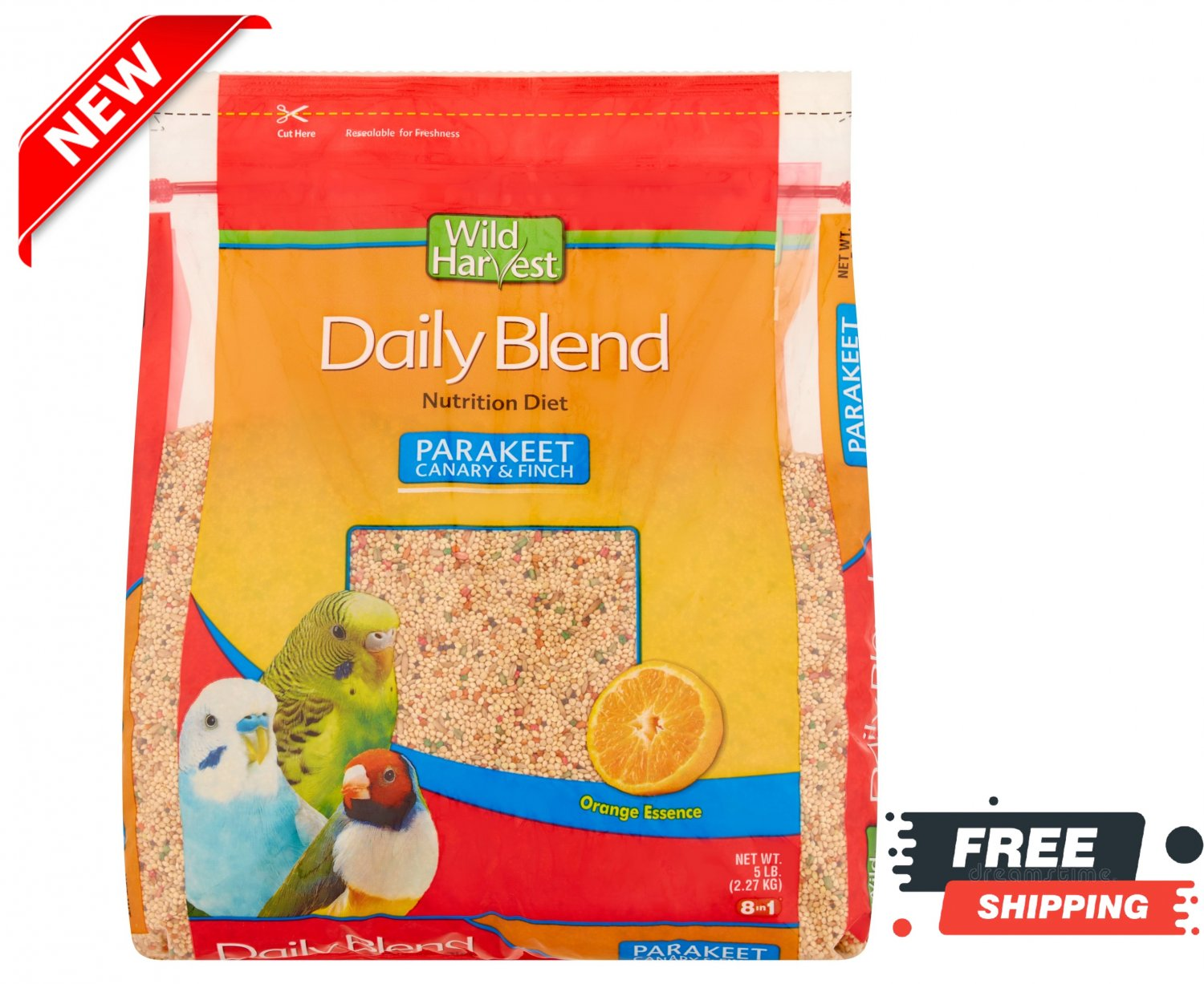 5 Pound Daily Blend Nutrition Feed Food for Parakeet Canary Finch Wild Harvest NEW