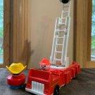 Vintage Fisher Price Little People  Fire Truck ladder 2 firemen fireman cowboy