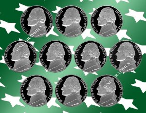 1990 - 1999 S Jeff Nickel Proof Set *10 Coins