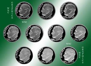 1970 S - 1979 S Roosevelt Proof Set *10 Coins