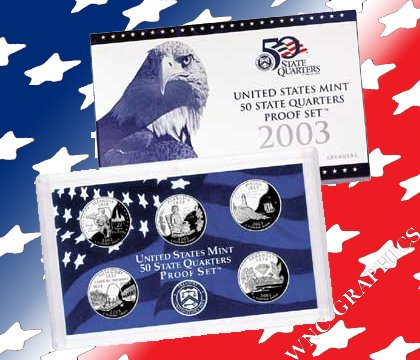 Year 2003 50 States Quarters Clad Proof Set