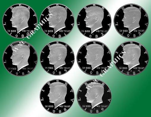 1980 - 1989 S Kennedy Proof Halves *Nice*