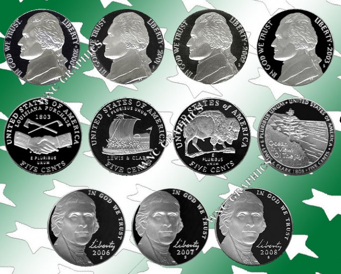 2000 thru 2008 S Jeff Nickel Proofs 11 Coins w/all WJ