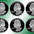 1990 - 1995 S Washington Quarters - *6 CN Clad Proofs