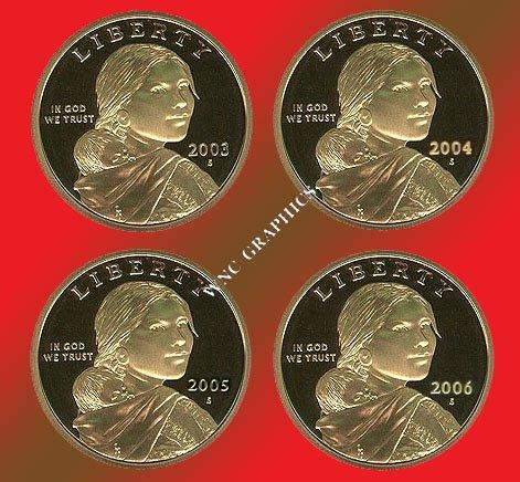 2003, 2004, 2005 & 2006 S Sacagawea Proof Dollars