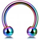 Circular Barbell Piercing - Horseshoe PA Ring in Rainbow - Thickness 18G, 16G, 14G and 12G