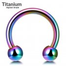 Titanium Circular Barbell Piercing - Horseshoe PA Ring in Rainbow - Thickness 18G, 16G, 14G and 12G