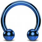 Circular Barbell Piercing- Horseshoe PA Ring in Teal Blue - Thickness 18G, 16G, 14G and 12G