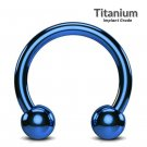 Titanium Circular Barbell Piercing - Horseshoe PA Ring in Teal Blue - Thickness 18G, 16G, 14G ,12G