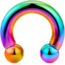 Big Size Circular Barbell Piercing- Horseshoe PA Ring in Rainbow - 8G, 6G, 4G, 2G, 1G, 0G and 00G
