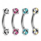 Multi Stone Curved Barbell Piercing 16g (1.2mm) for tragus, helix, daith, belly, eyebrow and more