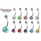 Titanium Double Jeweled Belly Bars - 14G(1.6mm)- AAA+ CZ Crystal in Many Colors