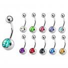 Single Jeweled Belly Bars- 316L Surgical Steel- 14G(1.6mm)- AAA+ Crystals in Many Colors