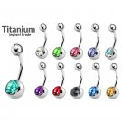 Titanium Single Jeweled Belly Bars- 14G(1.6mm)- AAA+ Crystals in Many Colors