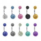 Round Belly Bars studded with Multi Crystal CZ Ball ‐ Surgical Steel 316L