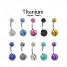 Titanium Round Belly Bars studded with Multi Crystal CZ Ball