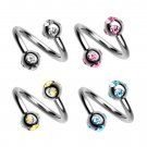 Multi Stone Twisted Barbell 16G Body Piercing Ring for lip, tongue, eyebrow, daith, helix, tragus
