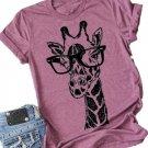 Giraffe Print Graphic Short Sleeve T-Shirt Plus Size Women Tops