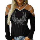 Bling Diamonds T-Shirts For Women Streetwear Sexy Hollow Out Tee Shirts Women