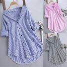 Women tunic Shirts Chic Stripe Large Size Button Lace V Neck Long Sleeve Shirt