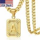 Initial letter Pendant a b c Charm Gold Necklace for Women Men Cuban Link Chain