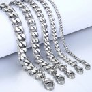 Men's Bracelets Stainless Steel Curb Cuban Link Chain Silver