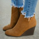 Boots Women Fashion Solid Suede Wedges Zipper Solid Color Short Booties