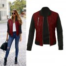 Women Autumn WInter Zipper Up Flight Bomber Jackets Ladies Coat Fashion Patchwork Jacket