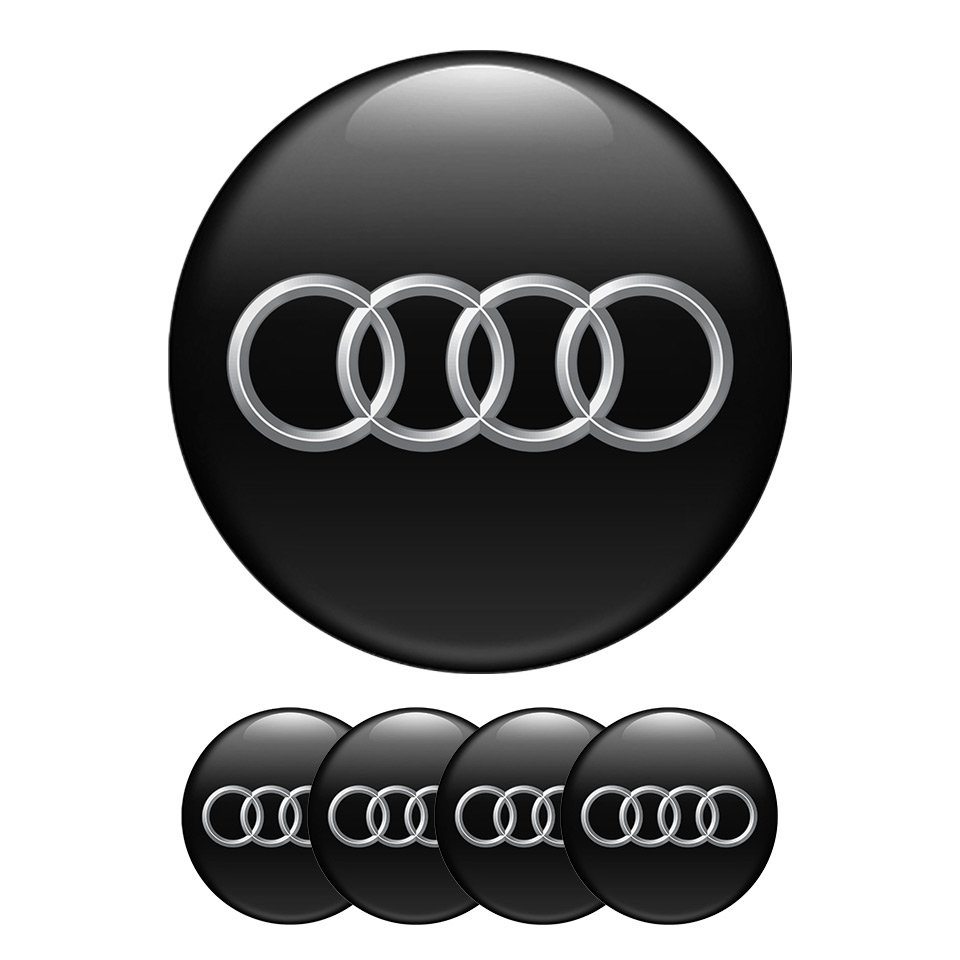 Set of 4 All Sizes Audi High Quality 3D Domed Center Wheel Cap Stickers Emblems