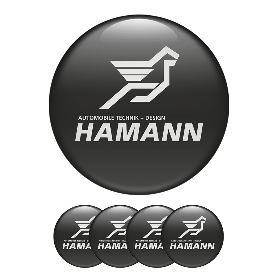 Set of 4 All Sizes Hamann High Quality 3D Domed Center Wheel Cap Stickers Emblems
