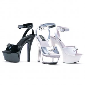 """Ellie Shoes 6"""" Heel Buckle Toe Sandal"""