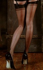 Scarlet - Garter Top Stockings with Red Seam