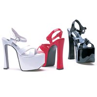 "Ellie Shoes 6.5"" Heels Open Toe - Ankle Strap - Patent Leather"