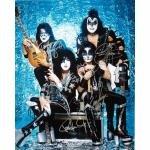 Kiss Autographed Group Pose Aqua 16x20 Photograph