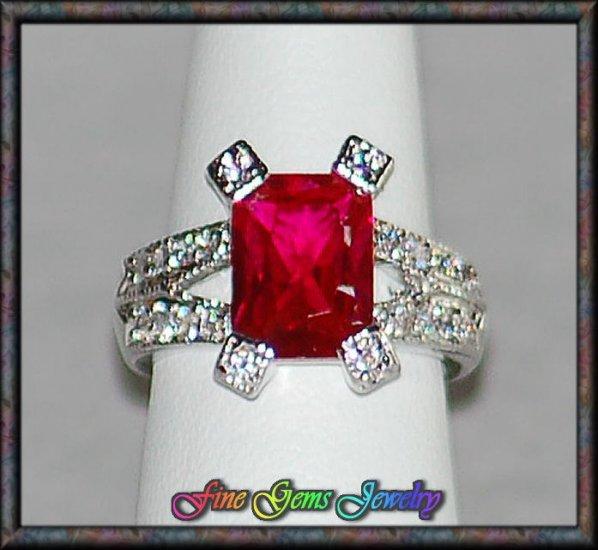 Emerald Cut Dark Red & Clear CZ Rhodium Plt Ring - Sz 6