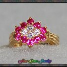 2ctw Ruby CZ Simulated Diamond Gold Tone Snowflake Ring - Sz 6