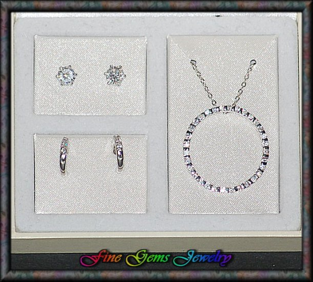 Ellegant Circle Pendant Necklace & Earrings Silver Plt Set