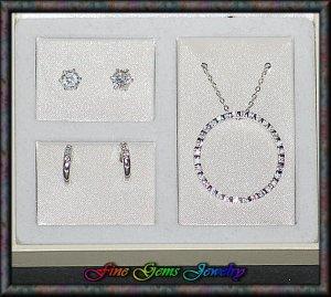 Ellegant Circle Pendant Necklace & Earrings Silver Plt Set