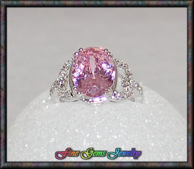 Striking Pink Oval & White CZ Silver Plated Ring -Sz 8