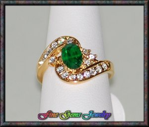 Emerald Green Oval & Clear Cz Gold Plt Ring - Sz 6