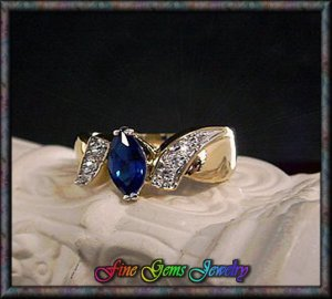14KT Gold Plt Sapphire Blue Marquise Cut Cz ByPass Ring -  SZ 7