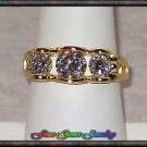 Lovely Triple The Sparkle Clear CZ Gold Plt Ring - Sz 7