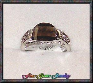 Very Pretty Smoky Color Curved CZ Silver Plt Ring -Sz 6