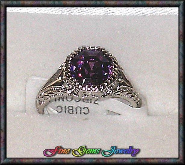 Gorgeous Royal Purple Octagon CZ Silver Plt Ring - Sz 6