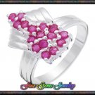 Cute 0.95ctw Genuine Rubies Sterling Silver Ring - Sz 7