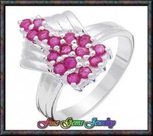Cute 0.95ctw Genuine Rubies Sterling Silver Ring - Sz 7