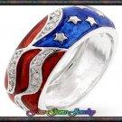 Amazing Red White & Blue Cz Silver Plt Flag Ring - Sz 5